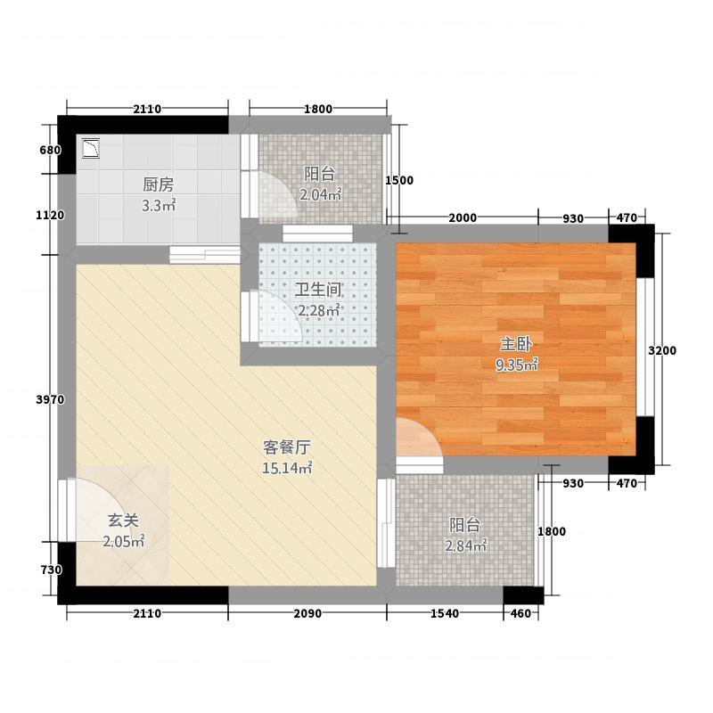 明月香山1143.20㎡B户型1室1厅1卫1厨