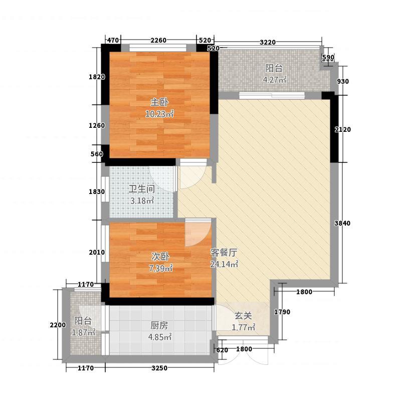 茶庄印象22274.22㎡2号楼户型2室2厅1卫1厨