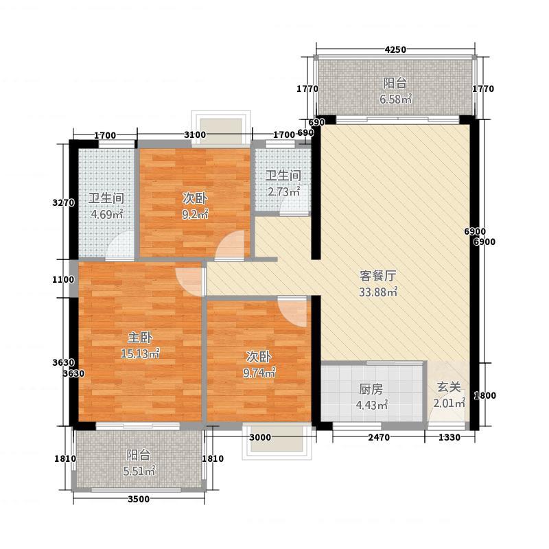 富雅国际3131.20㎡3#0103户型3室2厅2卫1厨