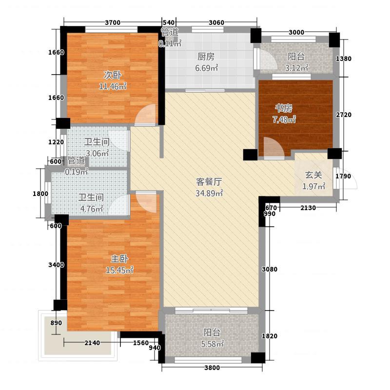碧桂园・城市花园5132.20㎡5、8、9、10号楼J550T-A户型3室2厅2卫1厨