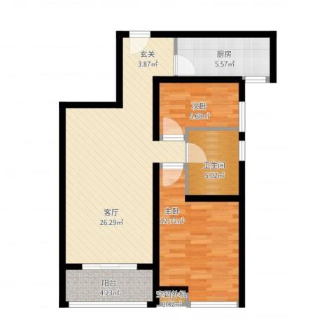 奥克斯盛世年华2室1厅1卫1厨87.00㎡户型图
