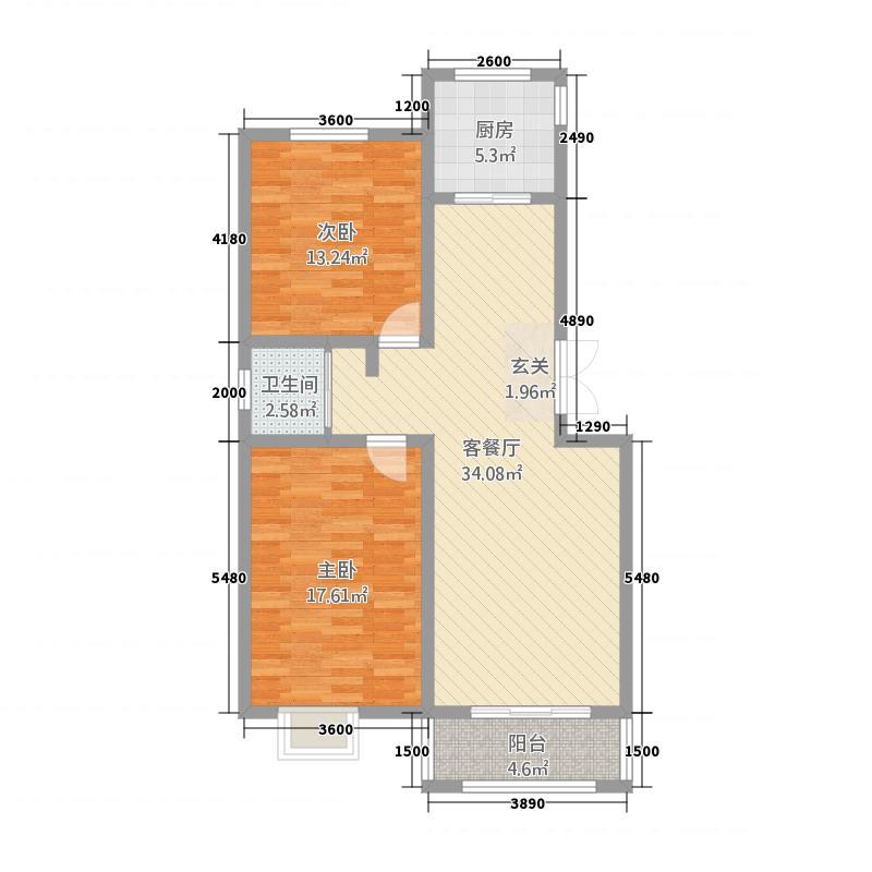苏源花园二期88.22㎡8号楼F户型2室2厅1卫1厨