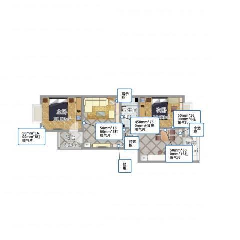 巨腾公寓1-2-6022室1厅1卫1厨89.00㎡户型图