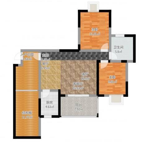 楠香山2室1厅1卫1厨125.00㎡户型图