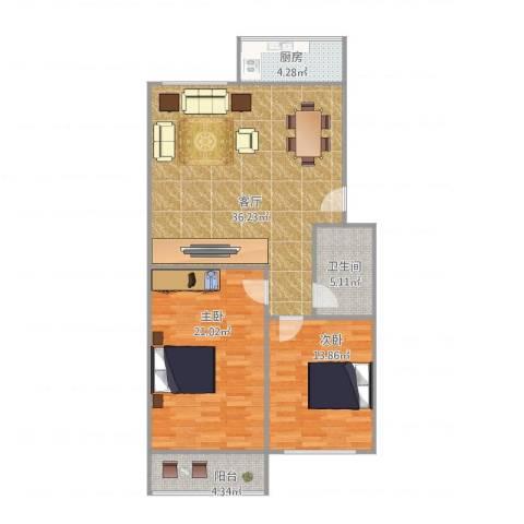 金容花园2室1厅1卫1厨113.00㎡户型图