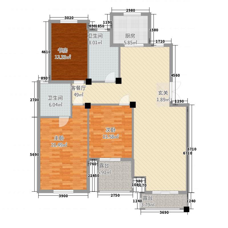 龙盛蓝郡1322142.25㎡B户型3室2厅2卫1厨