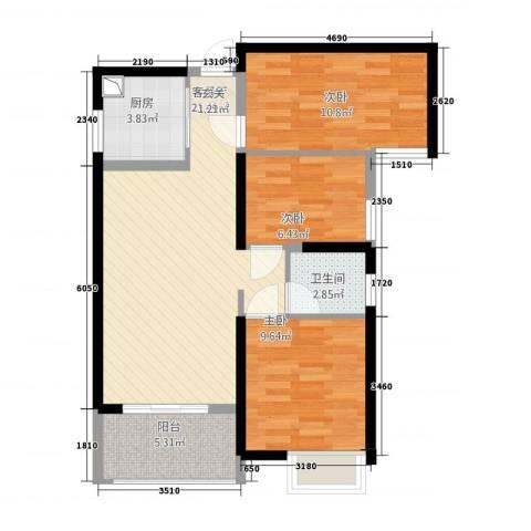 万益广场3室1厅1卫1厨62.46㎡户型图