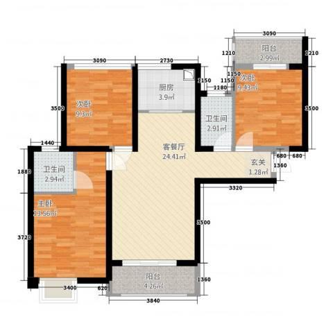 万益广场3室1厅2卫1厨4618.00㎡户型图