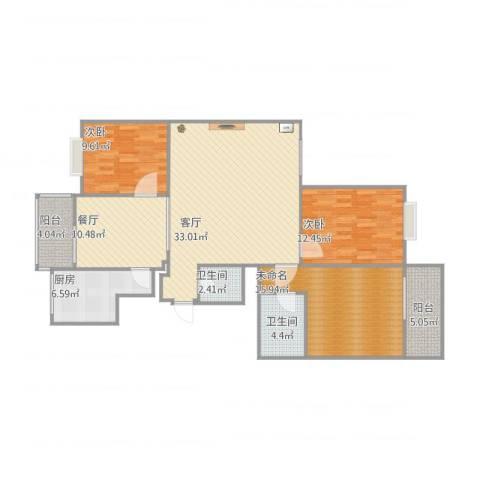 西瑞北国之春2室2厅2卫1厨138.00㎡户型图