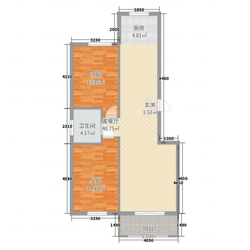橡树湾2215.62㎡户型2室2厅1卫1厨