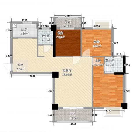 星河城市广场3室1厅2卫1厨82.02㎡户型图