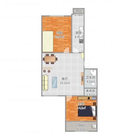 龙腾苑三区2室1厅1卫1厨117.00㎡户型图