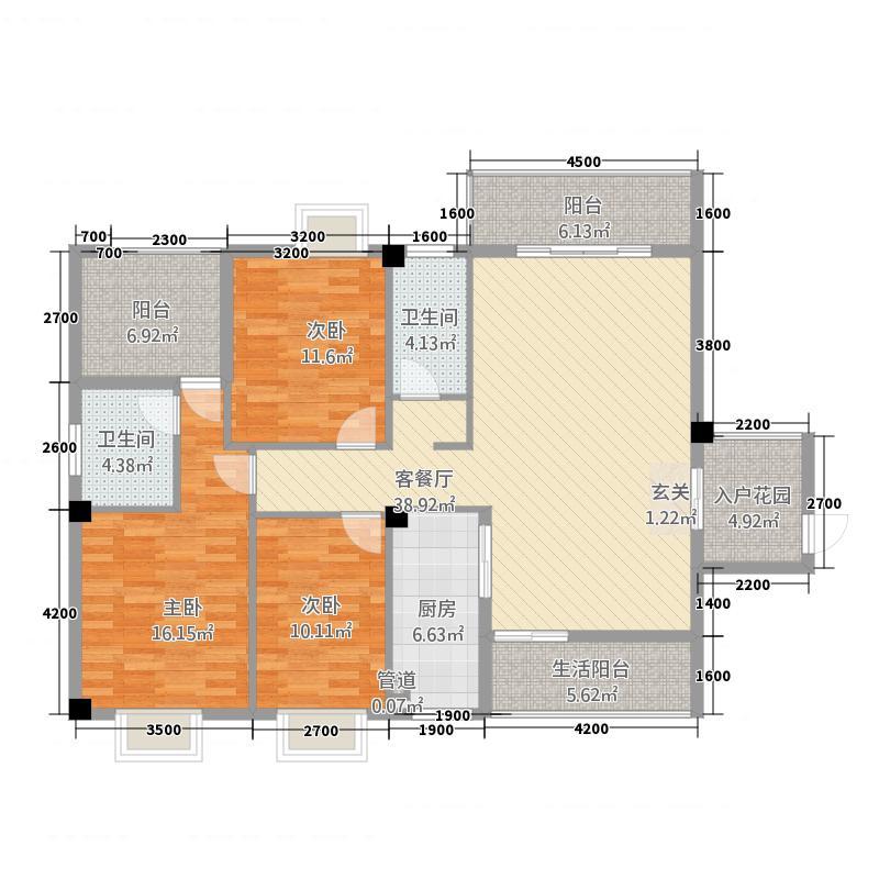 来源・丽景花园135.22㎡3-2-2-户型3室2厅2卫1厨