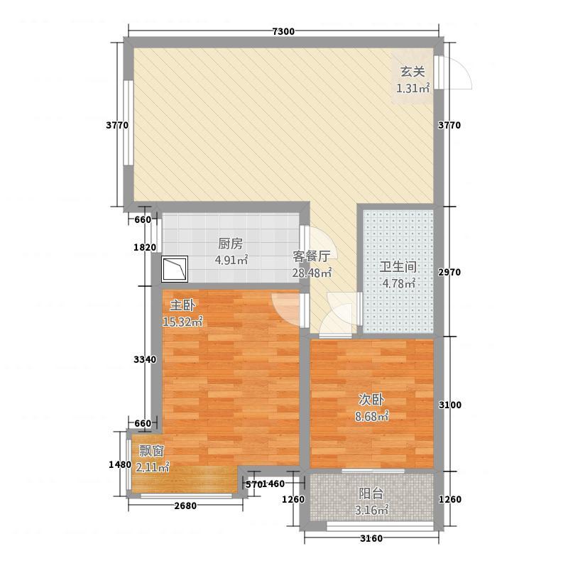 银座广场42.20㎡高层B4户型2室2厅1卫1厨
