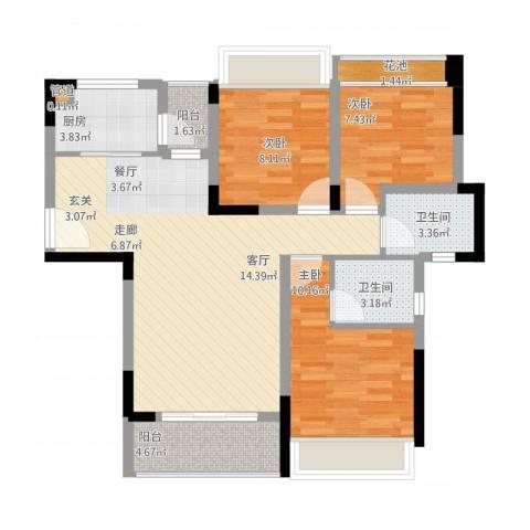 美丽湾畔花园3室1厅2卫1厨105.00㎡户型图