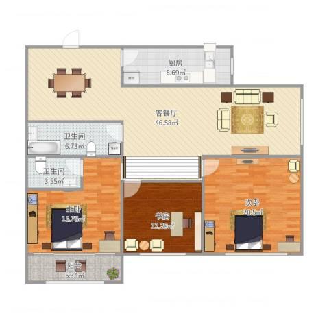 三箭如意苑3室1厅2卫1厨159.00㎡户型图