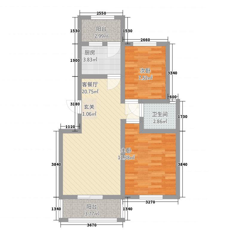 金鼎名城22185.12㎡L户型2室2厅1卫1厨