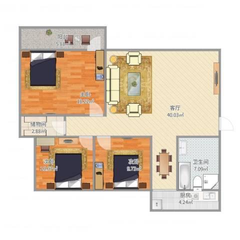 工人新村南村东区3室1厅1卫1厨132.00㎡户型图