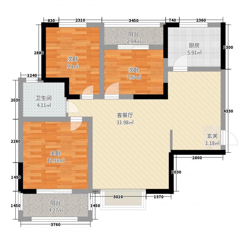 一江弘城114.57㎡一期C1户型3室2厅1卫1厨
