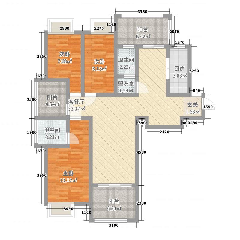 玉屏尚城小区11143.88㎡11_副本户型3室2厅2卫1厨