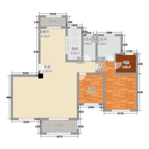 中星湖滨城凡尔赛九郡3室1厅2卫1厨155.00㎡户型图
