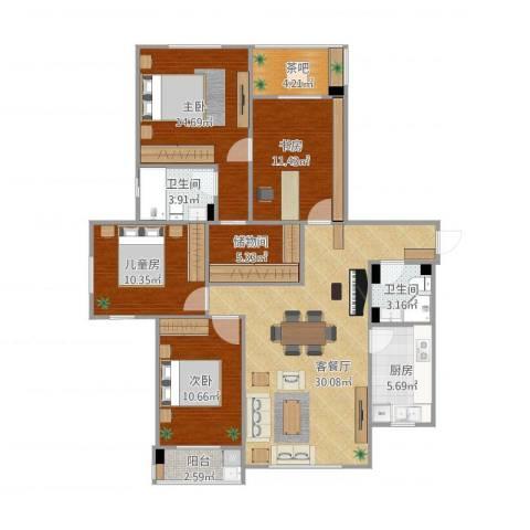 东港嘉苑一区4室1厅2卫1厨140.00㎡户型图