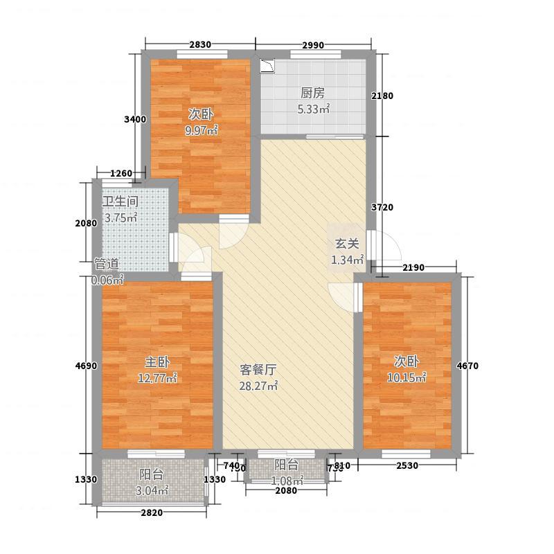阳光上和2321117.25㎡D2-3-2-户型3室2厅1卫