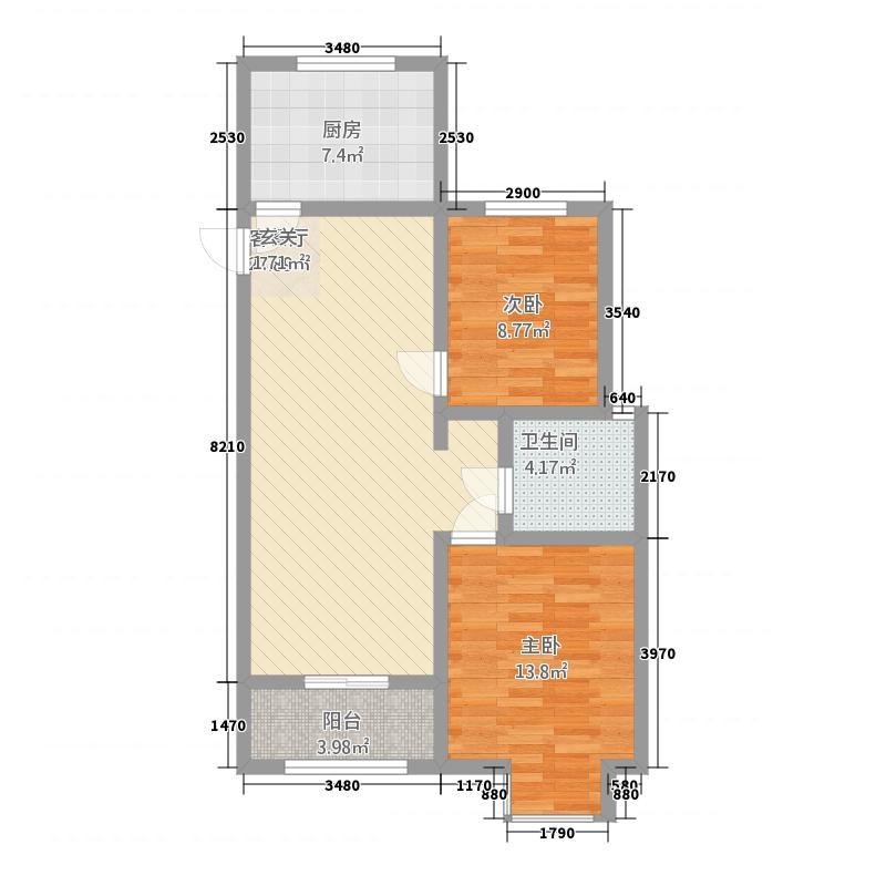 金鼎名城2214.71㎡K户型2室2厅1卫1厨