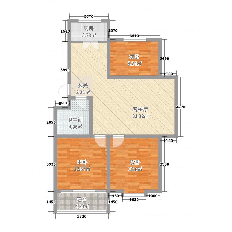 海盛在水一方J库・11161户型3室2厅1卫