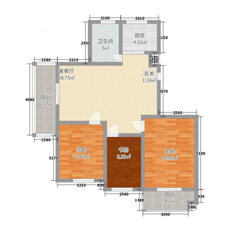 金鼎名城331122.72㎡B户型3室3厅1卫1厨