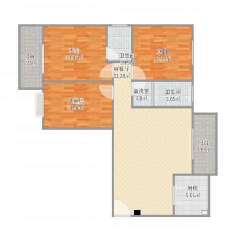 东湖公园1号3室2厅2卫1厨127.00㎡户型图