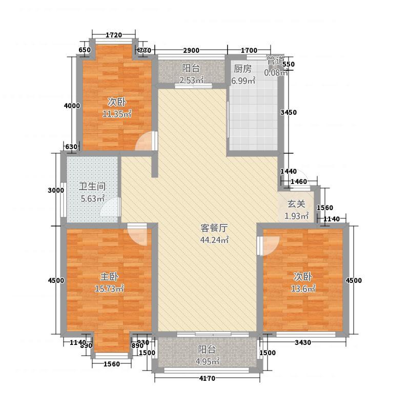 一品和�118.20㎡一期F户型3室2厅1卫1厨