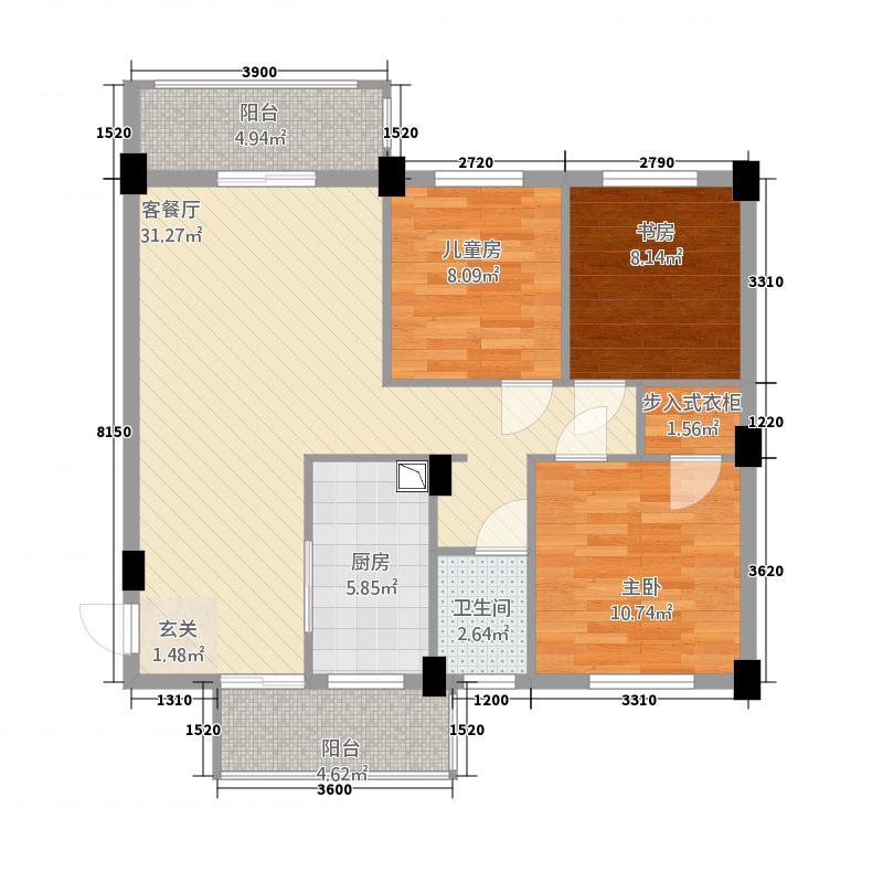 龙州先锋花园7322.63㎡户型3室2厅1卫1厨