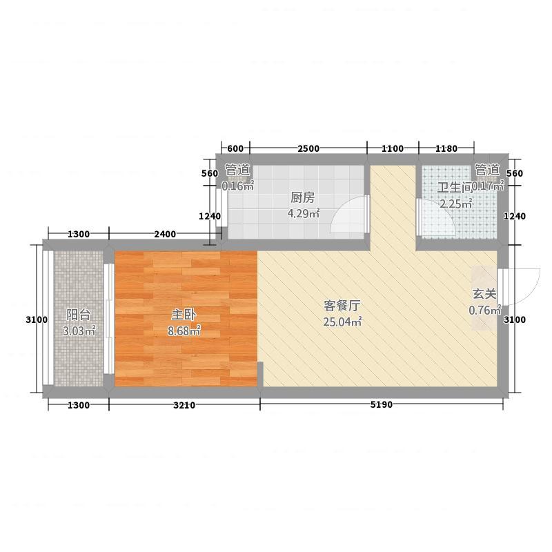 惠城嘉苑4124.62㎡4#1-2户型1室1厅1卫1厨