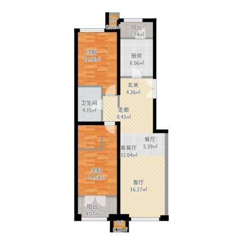 亿城堂庭2室1厅1卫1厨111.00㎡户型图