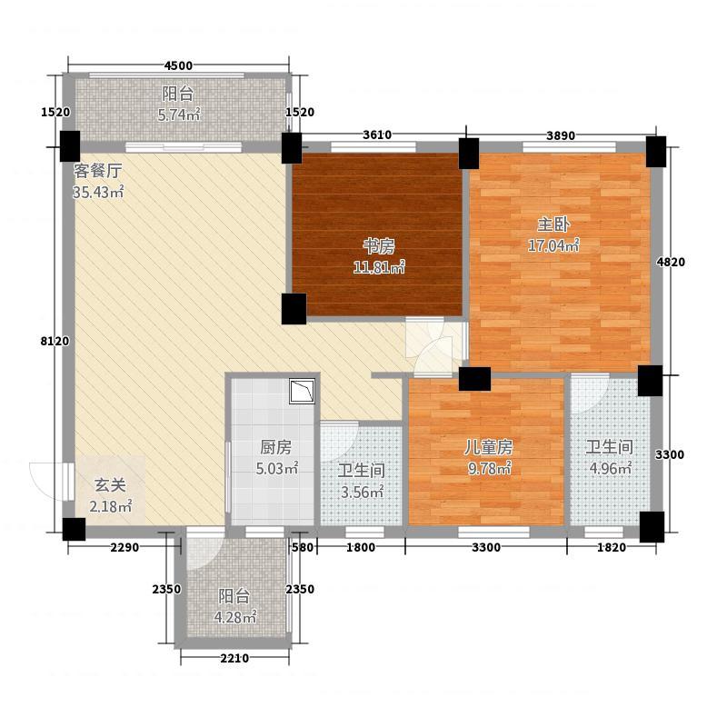龙州先锋花园432117.47㎡户型3室2厅2卫1厨