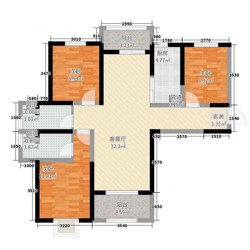 英郡年华国际社区11.20㎡9号楼A户型3室2厅2卫1厨