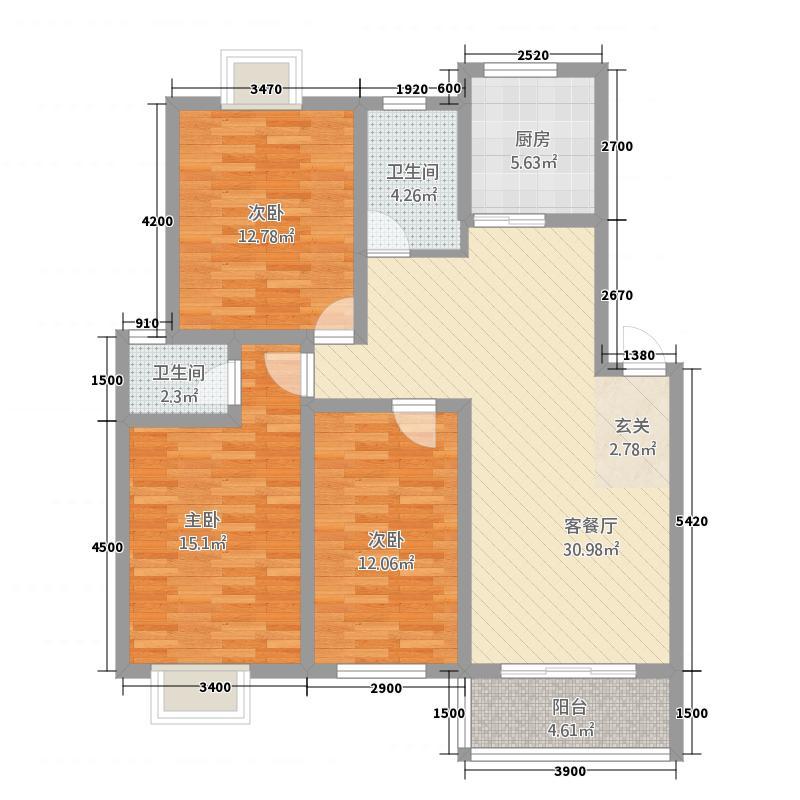 豪庭尚城3217.72㎡D户型3室2厅2卫1厨