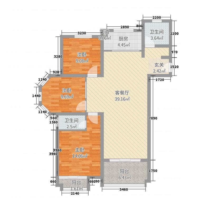 浩创梧桐郡2112.77㎡2号楼B1-4-1户型3室2厅2卫1厨