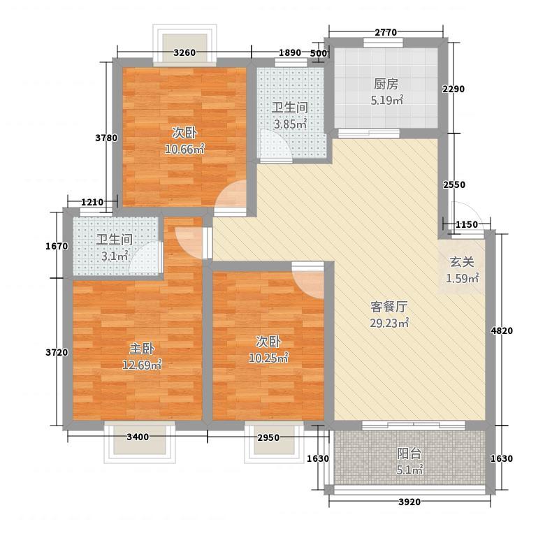 豪庭尚城32115.42㎡C户型3室2厅2卫1厨