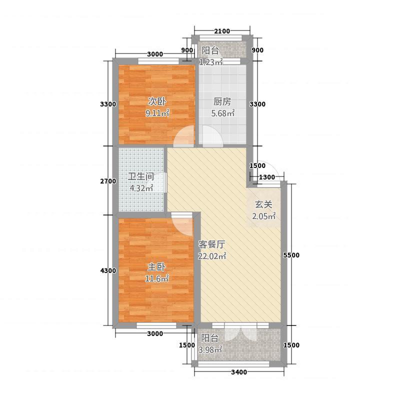 吉星花园127.64㎡户型2室2厅1卫1厨
