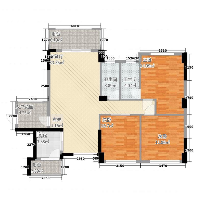 广海新城6125.48㎡一期6座标准层01户型3室2厅2卫1厨