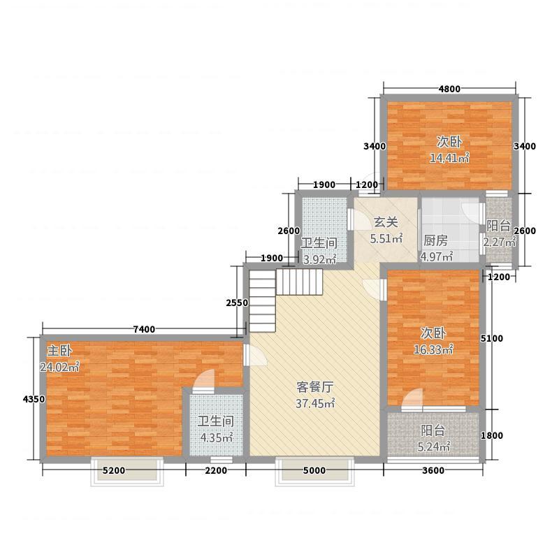 江北壹号126.68㎡A1楼中楼下户型3室2厅2卫1厨