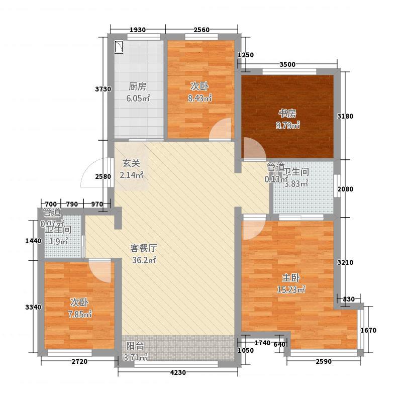 百商・托斯卡纳小城117.55㎡高层A户型4室2厅2卫1厨