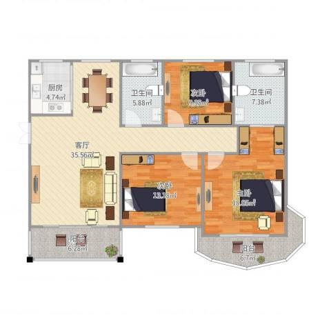 半山御景3室1厅2卫1厨145.00㎡户型图