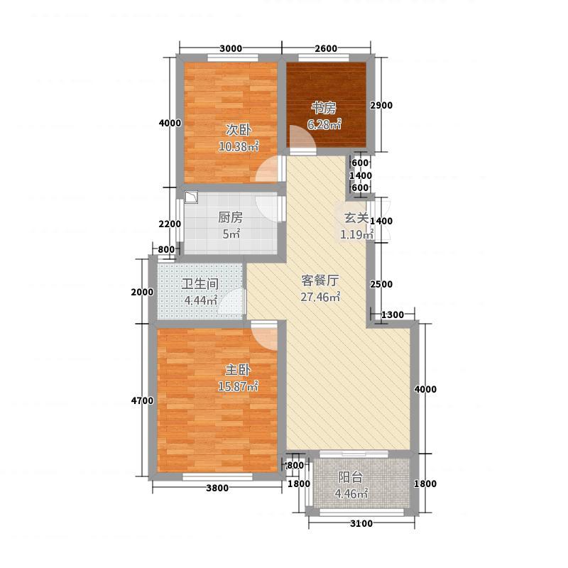 新厦锦绣天成15.35㎡A-3-2-户型3室2厅1卫1厨