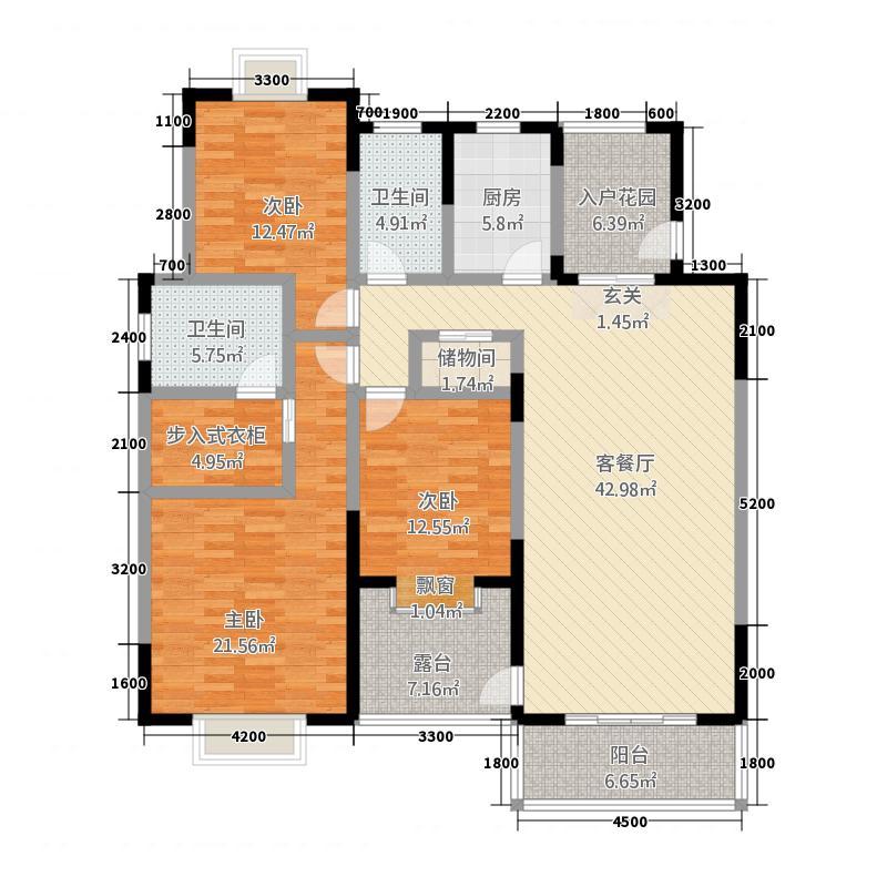程力・水岸国际154.22㎡(8)户型3室2厅2卫