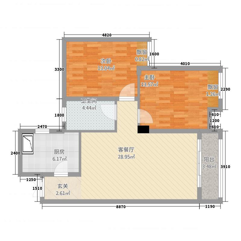 恒海金湾142.20㎡mmexport户型2室2厅1卫1厨