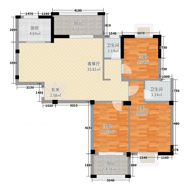 丽江明珠6322115.00㎡户型3室2厅2卫1厨