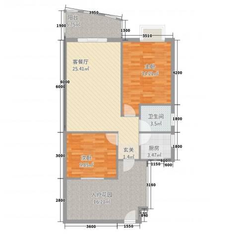 新城海世界2室1厅1卫1厨78.42㎡户型图